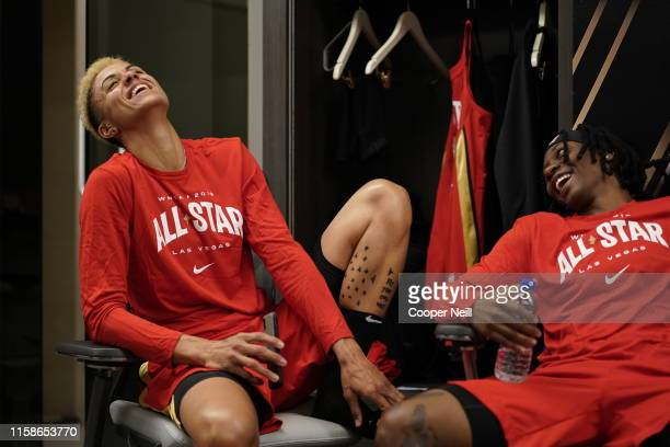 Candice Dupree and Erica Wheeler of Team Wilson have a laugh before the AT&T WNBA All-Star Game 2019 on July 27, 2019 at the Mandalay Bay Events...