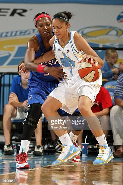 Candice Dupree of the Chicago Sky drives the ball against Cheryl Ford of the Detroit Shock during the WNBA game on September 12 2009 at the UIC...