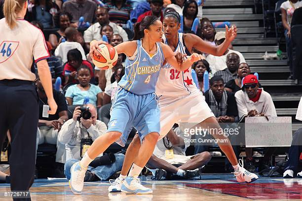 Candice Dupree of the Chicago Sky goes up against Stacey Lovelace of the Atlanta Dream during the WNBA game on June 6 2008 at Philips Arena in...