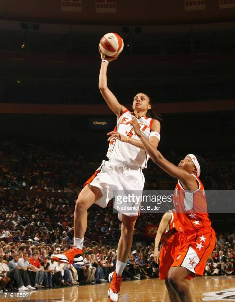 Candice Dupree of the Eastern Conference AllStars attempts a layup during the 2006 WNBA AllStar Game at Madison Square Garden on July 12 2006 in New...