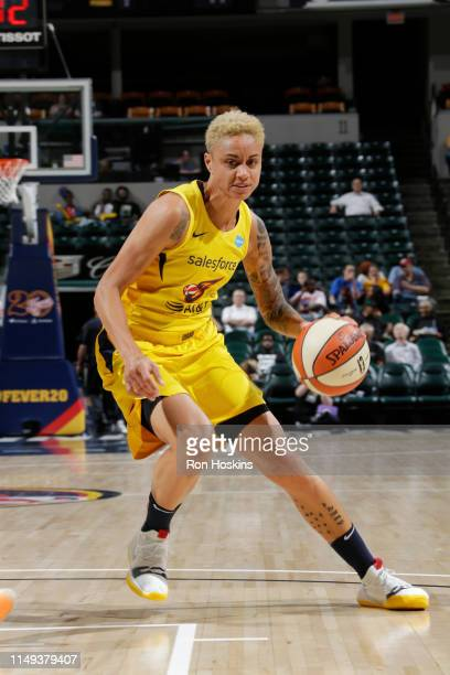 Candice Dupree of the Indiana Fever drives through the paint during the game against the Seattle Storm on June 11, 2019 at the Bankers Life...