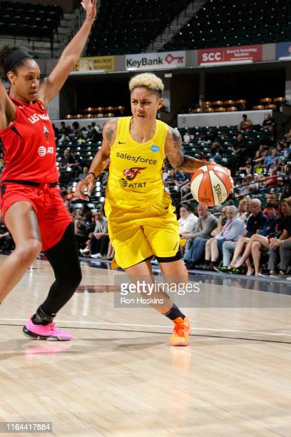 Candice Dupree of the Indiana Fever drives to the basket against t he Las Vegas Aces on August 27, 2019 at the Bankers Life Fieldhouse in...
