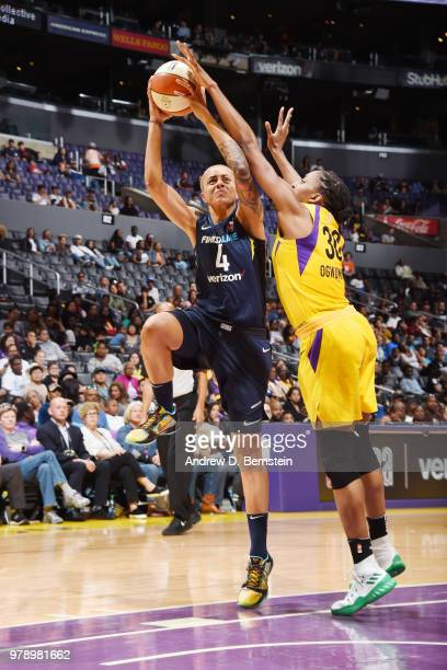 Candice Dupree of the Indiana Fever drives to the basket against the Indiana Fever on June 19 2018 at STAPLES Center in Los Angeles California NOTE...