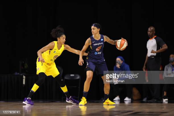 Candice Dupree of the Indiana Fever handles the ball against the Los Angeles Sparks on August 5, 2020 at Feld Entertainment Center in Palmetto,...