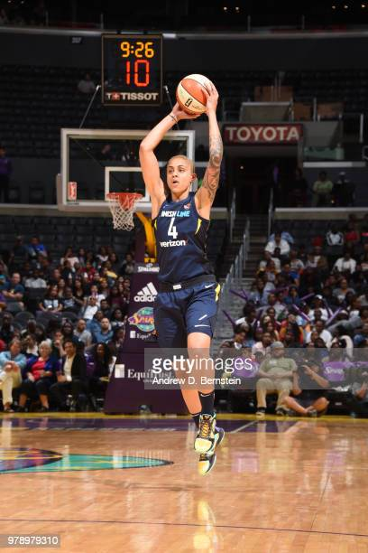 Candice Dupree of the Indiana Fever handles the ball against the Los Angeles Sparks on June 19 2018 at STAPLES Center in Los Angeles California NOTE...