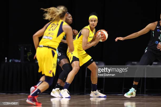 Candice Dupree of the Indiana Fever handles the ball against the New York Liberty on September 10, 2020 at Feld Entertainment Center in Palmetto,...