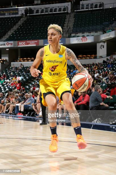 Candice Dupree of the Indiana Fever handles the ball against the Atlanta Dream on July 31, 2019 at the Bankers Life Fieldhouse in Indianapolis,...