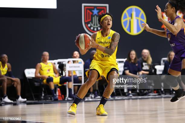 Candice Dupree of the Indiana Fever handles the ball against the Phoenix Mercury on July 29, 2020 at Feld Entertainment Center in Palmetto, Florida....