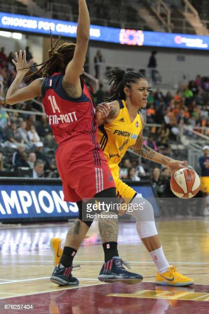 Candice Dupree of the Indiana Fever handles the ball against the Washington Mystics on May 2, 2017 at Indiana Farmers Coliseum in Indianapolis,...
