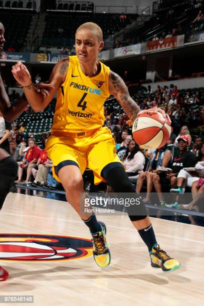 Candice Dupree of the Indiana Fever handles the ball against the Atlanta Dream on June 16 2018 at Bankers Life Fieldhouse in Indianapolis Indiana...