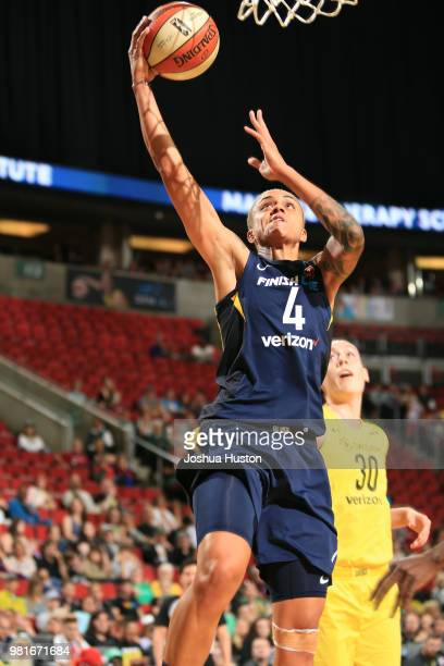 Candice Dupree of the Indiana Fever handles the ball against the Seattle Storm on June 22 2018 at Key Arena in Seattle Washington NOTE TO USER User...