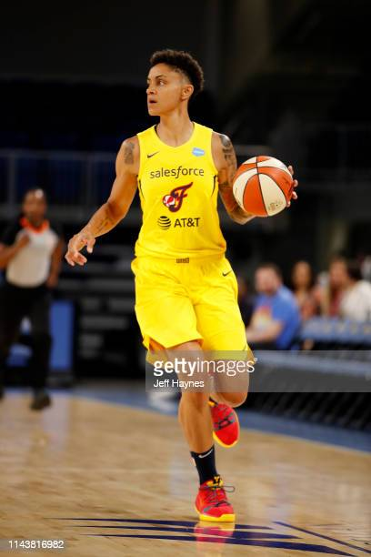Candice Dupree of The Indiana Fever handles the ball against the Chicago Sky on May 14, 2019 at the Wintrust Arena in Chicago, Illinois. NOTE TO...