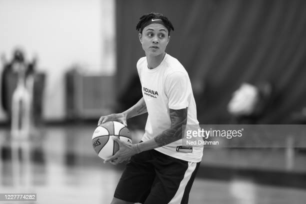 Candice Dupree of the Indiana Fever handles the ball during practice on July 23, 2020 at IMG Academy in Bradenton, Florida. NOTE TO USER: User...