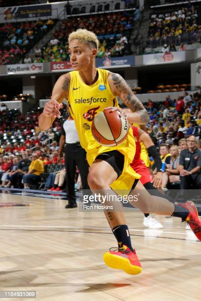 Candice Dupree of the Indiana Fever handles the ball during the game against the Las Vegas Aces on July 10, 2019 at the Bankers Life Fieldhouse in...