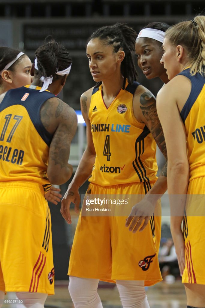 Candice Dupree #4 of the Indiana Fever huddles with her team during the game gainst the Washington Mystics on May 2, 2017 at Indiana Farmers Coliseum in Indianapolis, Indiana.