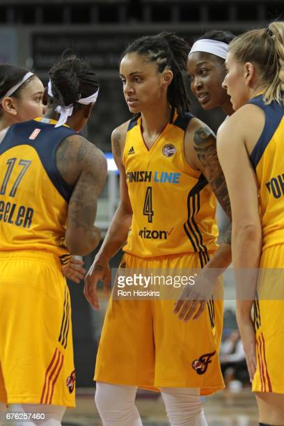 Candice Dupree of the Indiana Fever huddles with her team during the game gainst the Washington Mystics on May 2, 2017 at Indiana Farmers Coliseum in...