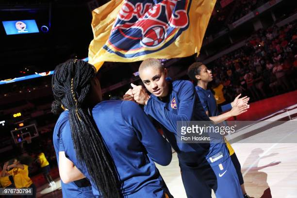 Candice Dupree of the Indiana Fever is introduced before the game against the Atlanta Dream on June 16, 2018 at Bankers Life Fieldhouse in...