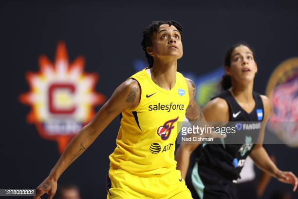 Candice Dupree of the Indiana Fever plays defense against the New York Liberty on August 13, 2020 at Feld Entertainment Center in Palmetto, Florida....