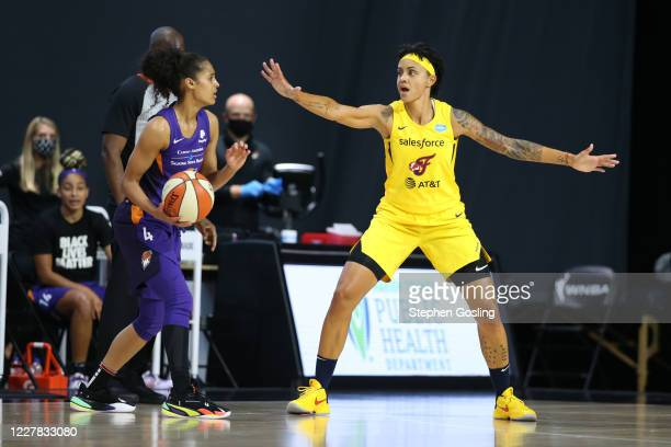 Candice Dupree of the Indiana Fever plays defense against the Phoenix Mercury on July 29, 2020 at Feld Entertainment Center in Palmetto, Florida....