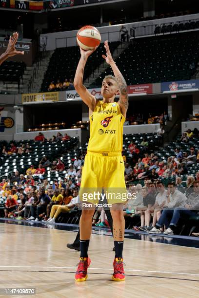 Candice Dupree of the Indiana Fever shoots the ball against the New York Liberty on June 1, 2019 at the Bankers Life Fieldhouse in Indianapolis,...