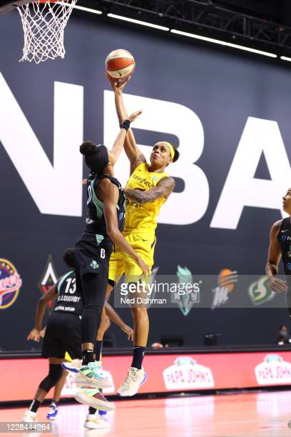 Candice Dupree of the Indiana Fever shoots the ball against the New York Liberty on September 10, 2020 at Feld Entertainment Center in Palmetto,...