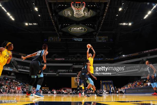 Candice Dupree of the Indiana Fever shoots the ball against the Atlanta Dream on June 16 2018 at Bankers Life Fieldhouse in Indianapolis Indiana NOTE...
