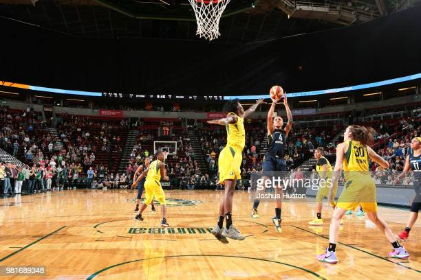 Candice Dupree of the Indiana Fever shoots the ball against the Seattle Storm on June 22 2018 at Key Arena in Seattle Washington NOTE TO USER User...