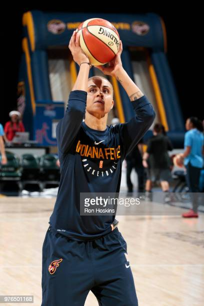Candice Dupree of the Indiana Fever shoots the ball before the game against the Atlanta Dream on June 16 2018 at Bankers Life Fieldhouse in...