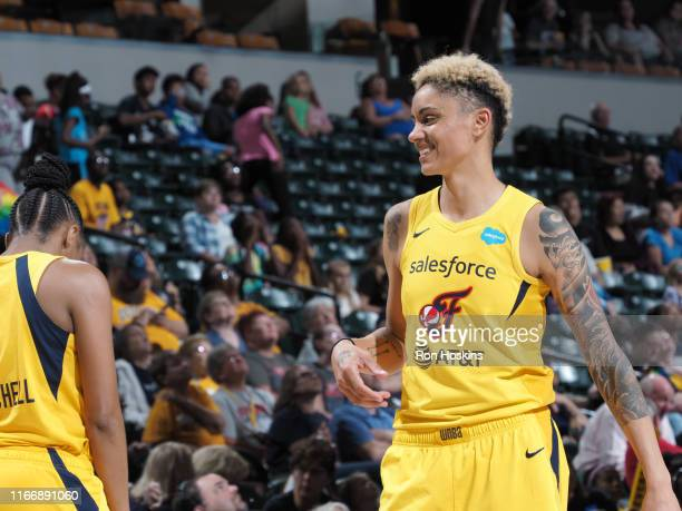 Candice Dupree of the Indiana Fever smiles during the game against the Connecticut Sun on September 8, 2019 at the Bankers Life Fieldhouse in...