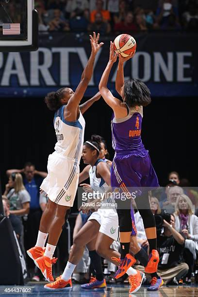 Candice Dupree of the Phoenix Mercury goes for the shot against Rebekkah Brunson of the Minnesota Lynx during the WNBA Western Conference Finals Game...