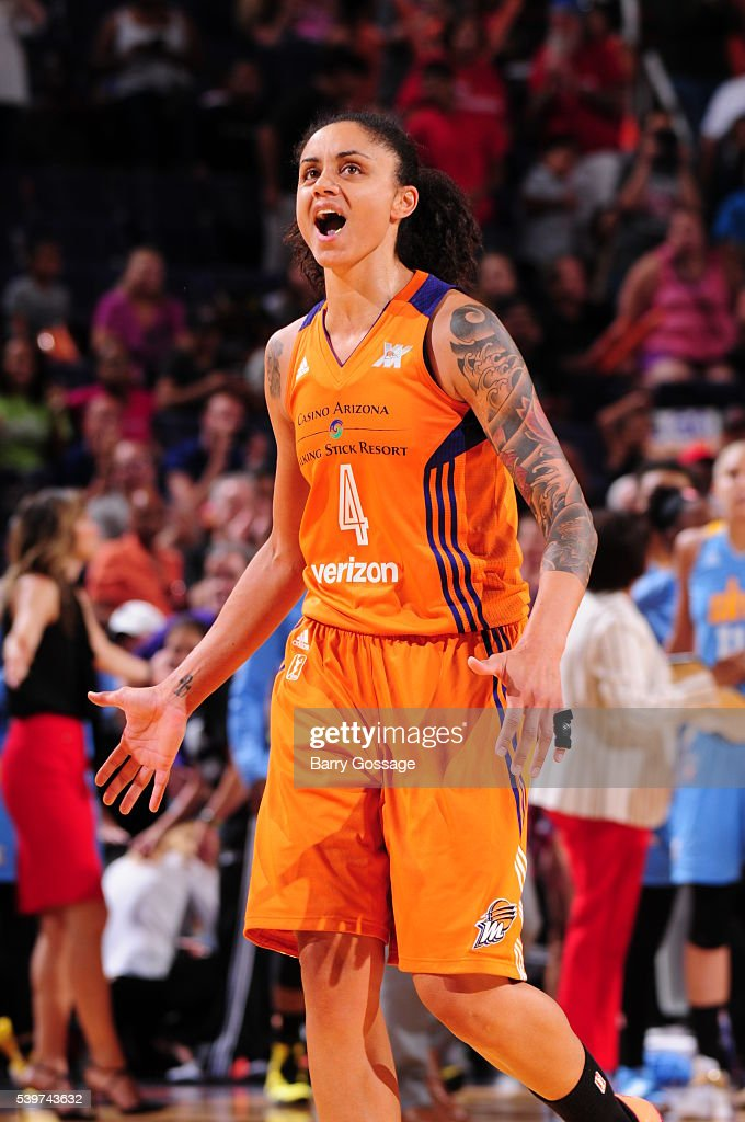 Candice Dupree #4 of the Phoenix Mercury reacts after a play against the Chicago Sky during the game on June 12, 2016 at Talking Stick Resort Arena in Phoenix, Arizona.