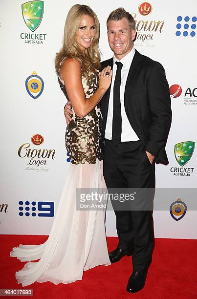 Candice Falzon and David Warner arrive at the 2014 Allan Border Medal at Doltone House on January 20 2014 in Sydney Australia