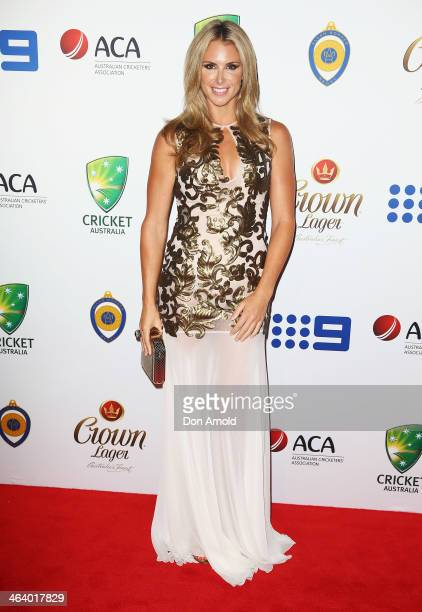 Candice Falzon arrives at the 2014 Allan Border Medal at Doltone House on January 20 2014 in Sydney Australia