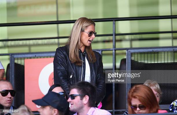 Candice Falzon Australian Ironwoman and partner of David Warner of Australia looks on during day two of the Fourth Ashes Test Match between Australia...