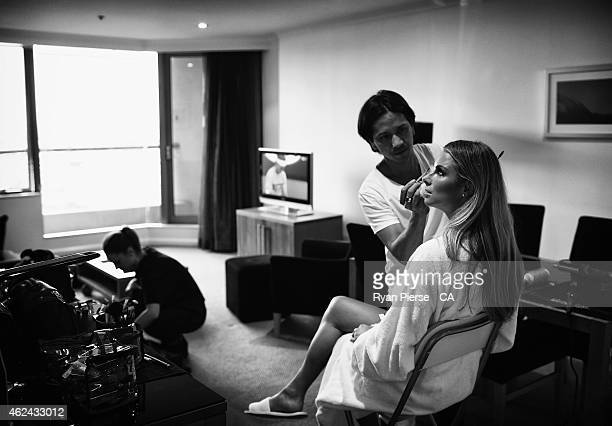 Candice Falzon fiance of David Warner of Australia prepares for the 2015 Allan Border Medal on January 27 2015 in Sydney Australia