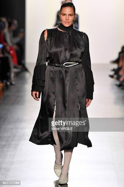 Candice Huffine walks the runway at the Prabal Gurung fashion show during New York Fashion Week Fall Winter 20172018 on February 12 2017 in New York...
