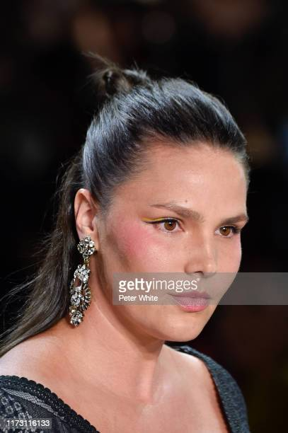Candice Huffine walks the runway for Tadashi Shoji Spring/Summer 2020 during New York Fashion Week The Shows at Gallery I at Spring Studios on...