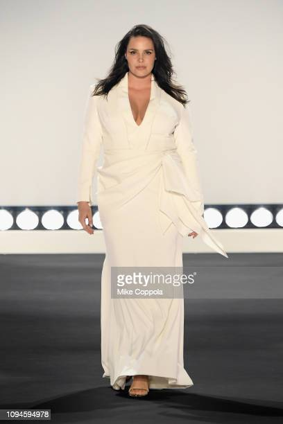 Candice Huffine walks the runway for the 11 Honore fashion show during New York Fashion Week The Shows at Gallery I at Spring Studios on February 6...
