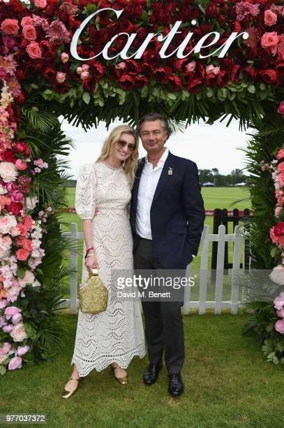 Candice Lake and Laurent Feniou attend the Cartier Queen's Cup Polo at Guards Polo Club on June 17 2018 in Egham England
