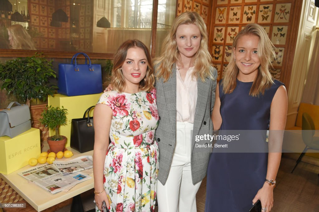 Candice Lake (C) poses with Espie Roche co-founders Alexandra Roche-Hamilton (L) and Hermione Espie Underwood at the Espie Roche launch breakfast at The Chess Club on March 13, 2018 in London, England.
