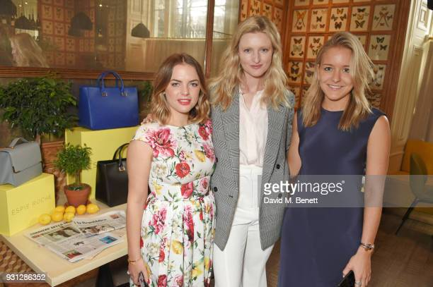 Candice Lake poses with Espie Roche cofounders Alexandra RocheHamilton and Hermione Espie Underwood at the Espie Roche launch breakfast at The Chess...