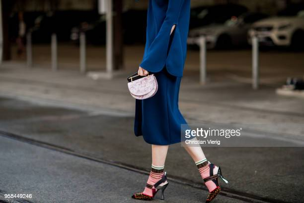 Candice Lake wearing Fendi socks and heels blue dress with slit during MercedesBenz Fashion Week Resort 19 Collections at Carriageworks on May 14...