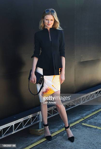 Candice Lake wears a jacket by Scanlan and Theodore Dion Lee skirt Rayban sunglasses Alexander Wang shoes and Rachel Ruddock handbag at MercedesBenz...