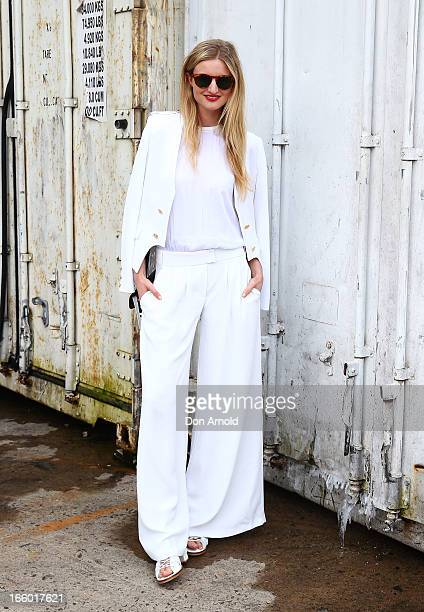 Candice Lake wears an outfit by Camilla and Marc and shoes by Willow during MercedesBenz Fashion Week Australia Spring/Summer 2013/14 at...