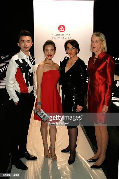 Candice Liu and President of the Academy of Art University Elisa Stephens attend the Academy Of Art University Spring 2015 Collections during...