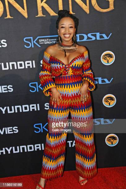Candice Modiselle during the official South African Premiere of Disney's The Lion King at the Johannesburg Country Club on July 18 2019 in...