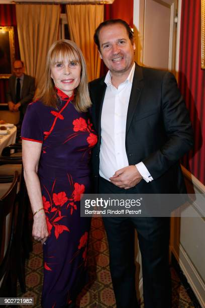 """Candice Patou and Christian de Vaulx attend Robert Hossein celebrates his 90th Anniversary at """"Laurent Restaurant"""" on January 8, 2018 in Paris,..."""