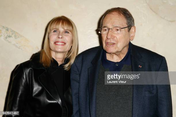 Candice Patou and Robert Hossein attend Tribute To Daniele Darrieux at Cinema Max Linder on April 9, 2018 in Paris, France.