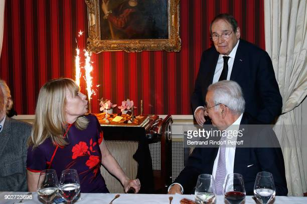 """Candice Patou, her husband Robert Hossein and Isidore Partouche attend Robert Hossein celebrates his 90th Anniversary at """"Laurent Restaurant"""" on..."""