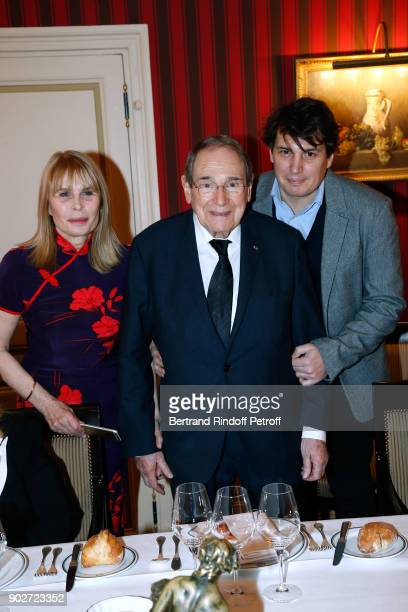 Candice Patou her husband Robert Hossein and their son Julien Hossein attend Robert Hossein celebrates his 90th Anniversary at Laurent Restaurant on...